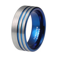 8mm - Blue Tungsten Wedding Band Ring  Double Offset Lines / Grooves. Pipe Cut Style and Comfort Fit