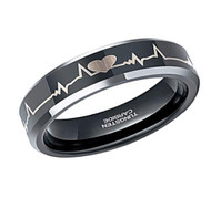 6mm - Unisex or Women's EKG Heartbeat Wedding Band. Black Tungsten with Silver tone laser Etched Heart Life-line. Comfort Fit Ring