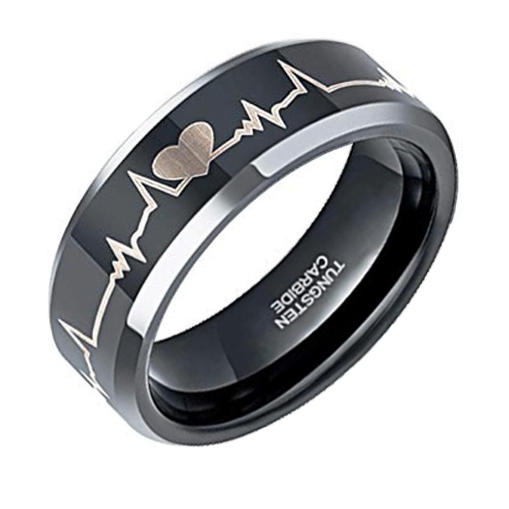 0131e1f133 8mm - Unisex or Men's EKG Heartbeat Wedding Band. Black Tungsten ...