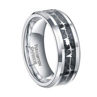 8mm - Unisex or Men's Tungsten EKG Heartbeat Wedding Band. Silver Band with Inlay Heart Life-line on Black Carbon Fiber. Tungsten Carbide Comfort Fit Love Ring
