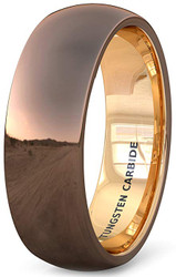 8mm - Unisex or Men's Tungsten Wedding Band. Brown High Polish Finish with Inside Rose Gold. Tungsten Carbide Ring with Dome Top.
