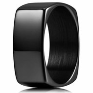 8mm - Unisex or Men's Tungsten Carbide Wedding Ring. Black High Polished Unique Square Shape Comfort Fit Band