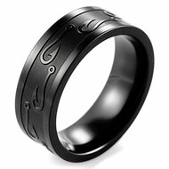 8mm - Unisex or Men's Fishing Ring / Fisherman's Wedding Band. Black Titanium Band with Embossed Fish Hooks. Wedding Band Comfort Fit Ring