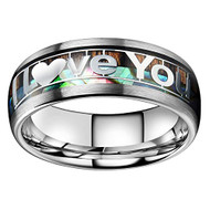 "8mm - Unisex, Men's or Women's Tungsten Wedding Bands. ""I Love You"" Ring - Silver Multi Color Rainbow Abalone Shell and wood Inlay Ring (Organic colors)"