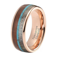 8mm - Unisex or Men's Wedding Tungsten Wedding Band. Rose Gold Band with Blue Calaite Turquoise, White Antler and Wood Inlay. Comfort Fit Tungsten Carbide Domed Top Ring