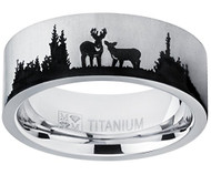 8mm - Unisex or Men's Hunting Ring / Deer Crossing Wedding Band. Silver Titanium Band with Etched Deer Silhouette. Hunter's Wedding Band Comfort Fit Ring