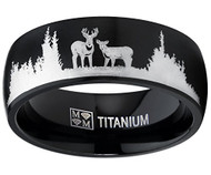 8mm - Unisex or Men's Hunting Ring / Deer Crossing Wedding Band. Black Titanium Band with Etched Deer Silhouette. Hunter's Wedding Band Comfort Fit Ring