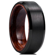 8mm - Unisex or Mens Tungsten Ring. Matte Finish Black Top Wedding Band with Dark Wood Interior Comfort Fit