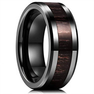 8mm - Unisex or Men's Ceramic Wedding Bands. Black with High Polish Black Ebony Wood Inlay and Beveled Edges. Comfort Fit.