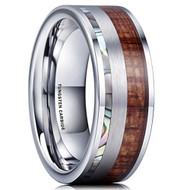 8mm - Unisex or Men's Wedding Tungsten Wedding Band. Rainbow Abalone Shell & Wood Inlay. Flat Edged Tungsten Carbide Ring. Comfort Fit Brushed Tungsten Carbide Wedding Ring