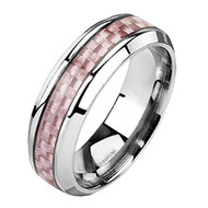 7mm - Unisex or Women's Titanium Wedding Bands. Titanium Women's Pink Carbon Fiber Inlay Band Ring. Light Weight and Comfort Fit.