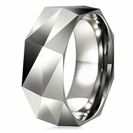 8mm - Unisex or Men's Tungsten Wedding Band Silver Tone. Diamond Faceted High Polished Tungsten Carbide Ring