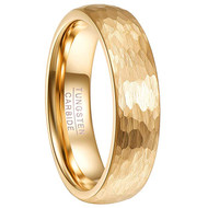 6mm - Unisex, Men's or Women's Tungsten Wedding Bands. Yellow Gold Hammered Domed Top Comfort Fit Wedding Ring.