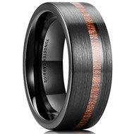 8mm - Unisex or Men's Wedding Tungsten Wedding Band. Black with Koa Wood Slice Inlay. Flat Edged Tungsten Carbide Ring. Comfort Fit Brushed Tungsten Carbide Wedding Ring