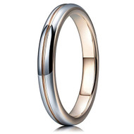 3mm - Unisex or Women's Tungsten Wedding Band Ring. Shiny Polished Gray and Rose Gold Groove Round Domed Comfort Fit. Wedding Bands