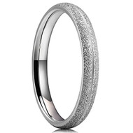 3mm - Women's Titanium Wedding Band. Silver Tone Sand Blasted Matte Frosted Glittery Finish Titanium Ring with Domed Edges