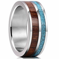 8mm - Unisex or Men's Wedding Titanium Wedding Band. Blue Calaite Turquoise and Wood Inlay. Comfort Fit Tungsten Carbide Ring Wedding Ring Band. Pipe Cut Style