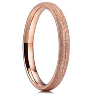 3mm - Women's Titanium Wedding Band. Rose Gold Sand Blasted Matte Frosted Glittery Finish Titanium Ring with Domed Edges