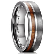 7mm - Unisex or Men's Wedding Tungsten Wedding Band. Silver and Gray Band with Wood Inlay. Comfort Fit Tungsten Carbide Ring.