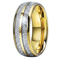 8mm - Unisex or Women's Tungsten Wedding Band. Yellow Gold Double Line Inspired Meteorite Domed Tungsten Carbide Ring. Comfort Fit