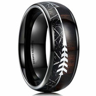 8mm - Unisex or Men's Tungsten Wedding Bands. Black Tone Cupid's Arrow with Wood and Inspired Meteorite Inlay. Tungsten Carbide Domed Top Ring.