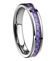 4mm - Women's Tungsten Carbide Wedding Band. Purple Carbon Fiber Inlay Wedding Bands Ring Comfort Fit