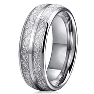 8mm - Unisex or Men's Tungsten Wedding Band. Silver Double Line Inspired Meteorite Domed Tungsten Carbide Ring. Comfort Fit