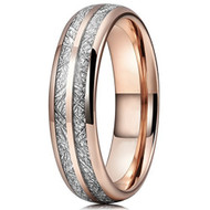 6mm - Unisex or Women's Tungsten Wedding Band. Rose Gold Double Line Inspired Meteorite Domed Tungsten Carbide Ring. Comfort Fit