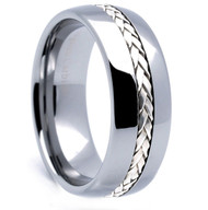 8mm - Unisex or Men's Tungsten Wedding Band. Silver Tone Rope Inlay Tungsten Carbide Ring. Domed Top and Comfort Fit.