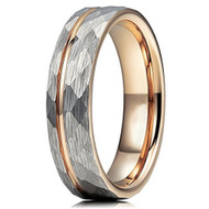 6mm - Unisex or Women's Tungsten Wedding Band. Hammered Brushed Silver Tungsten Ring with Rose Gold Interior and Stripe Design