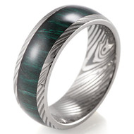 8mm - Unisex or Men's Inspired Damascus - Titanium Ring with Faux Engraved Damascus Stripes and Green Wood Domed Top