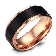 8mm - Unisex or Men's Titanium Wedding Band. Black and Rose Gold Duo Tone Ring. Comfort Fit Wedding Rings
