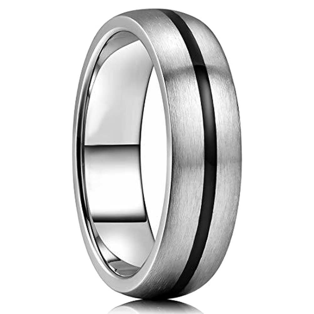 7 14.5 Women Ring Size Gemini Groom /& Bride Plain Dome Court Black Matching Titanium Wedding Rings Set 6mm /& 4mm Width Men Ring Size