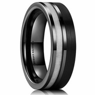 7mm - Unisex or Men's Tungsten Wedding Band. Triple Tone Silver, Black, and White Antler Inlay  Striped Pattern. Tungsten Ring Comfort Fit