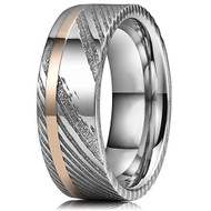 8mm -  Unisex or Men's Real Damascus Steel Silver and 14K Gold Stripe Inlay Wedding Ring - Flat Style
