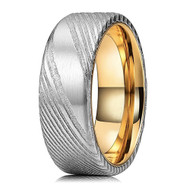 8mm - Unisex or Men's Damascus Steel Ring Wedding Band. Silver Domed Top with 14K Gold inside band.