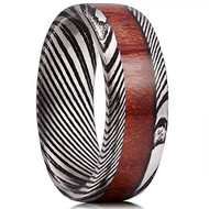 8mm -  Unisex or Mens Real Damascus Steel Band. Ebony Black and Silver Tones  with Real Wood Inlay Wedding Ring