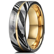 8mm -  Unisex or Men's Real Damascus Steel Silver, Black and 14K Gold Stripe Inlay Wedding Ring - Flat Style