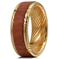 8mm - Unisex or Men's Damascus Steel Ring Wedding Band. 14K Plated Gold and  Wood Ring with Matte Top Polished Inner Band and Edges