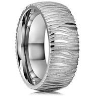 8mm - Unisex or Men's Inspired Damascus - Polished Domed Titanium Ring with Faux Engraved Damascus Stripes - High Polish and Matte Finish