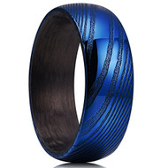 8mm - Unisex or Men's Damascus Steel Ring Wedding Band. Blue Domed Top with Black inside band.