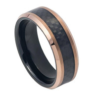 8mm - Unisex or Men's Tungsten Wedding Bands. Black Ring with Two-tone Black IP Inside Rose Gold IP Finish with Black Carbon Fiber Inlay. Tungsten Carbide  Wedding Band Ring