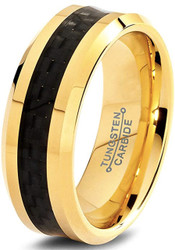 8mm - Unisex or Men's Tungsten Wedding Band. 14K Yellow Gold Ring with Black Carbon Fiber Inlay