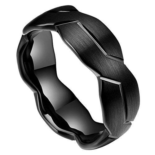 8mm Unisex Or Mens Black Tungsten Carbide Ring Brushed Infinity Knot Pattern Wedding Band Comfort Fit And High Polished Seller Savings Direct