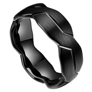 8mm - Unisex or Mens Black Tungsten Carbide Ring Brushed Infinity Knot Pattern Wedding Band. Comfort Fit and High Polished