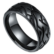 8mm - Unisex or Men's Black Tungsten Carbide Wedding Ring - Tire Pattern Groove Design High Polished