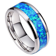 8mm - Unisex or Men's Blue Opal Inlay Mens Tungsten Wedding Band Ring. Silver Tone Wedding Band Comfort Fit High Polished Tungsten Carbide