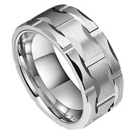 9mm - Unisex or Men's Tungsten Wedding Band. Silver Tone Brick Pattern Tungsten Wedding Band Ring Comfort Fit