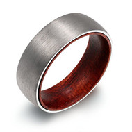 8mm - Unisex or Mens Tungsten Ring. Matte Finish Silver / Gray Domed Wedding Band with Dark Wood Interior Comfort Fit