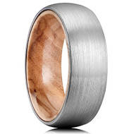 8mm - Unisex or Mens Tungsten Ring. Matte Finish Silver / Gray Domed Wedding Band with Tan Wood Interior Comfort Fit